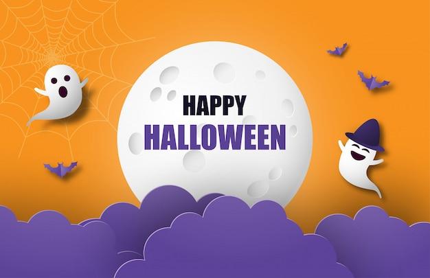 Feliz halloween banner o cartel de fondo con luna grande, nubes nocturnas, fantasmas y murciélagos en papel cortado estilo.