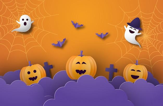 Feliz halloween banner o cartel de fondo con nubes nocturnas, calabazas, fantasmas y murciélagos en papel cortado estilo.
