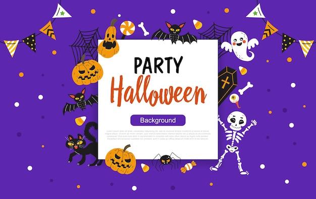 Feliz halloween banner o fondo de invitación a una fiesta con marco cuadrado e ilustraciones navideñas dibujadas a mano. ilustración vectorial. lugar para su texto.