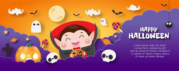 Feliz halloween banner papel cortado estilo fondo cartel fiesta divertida truco o trato