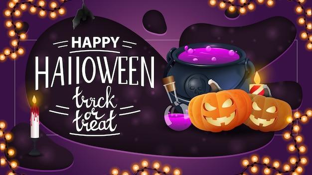 Feliz halloween, banner de saludo horizontal con olla de bruja y calabaza jack