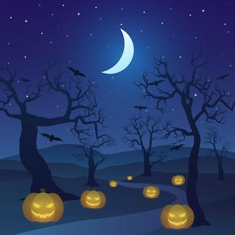 Feliz halloween en el bosque por la noche con árboles muertos, calabazas y luna creciente.