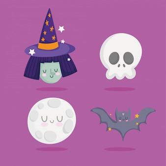 Feliz halloween, bruja calavera luna murciélago truco o trato fiesta celebración ilustración vectorial
