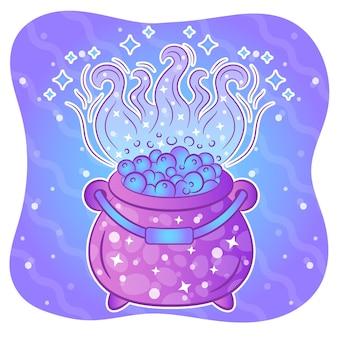 Feliz halloween brujería olla de cocina pegatina