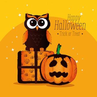 Feliz halloween con búho