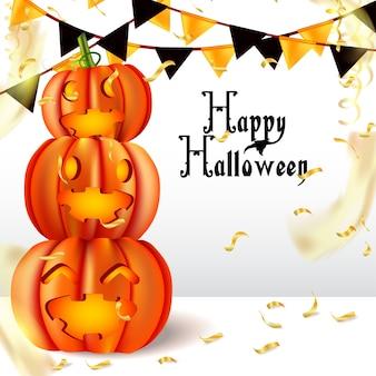 Feliz halloween con calabaza y bandera