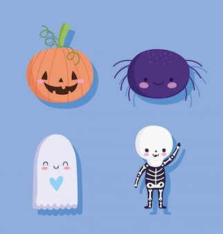Feliz halloween, calabaza fantasma de araña y disfraz de esqueleto truco o trato ilustración de vector de celebración de fiesta