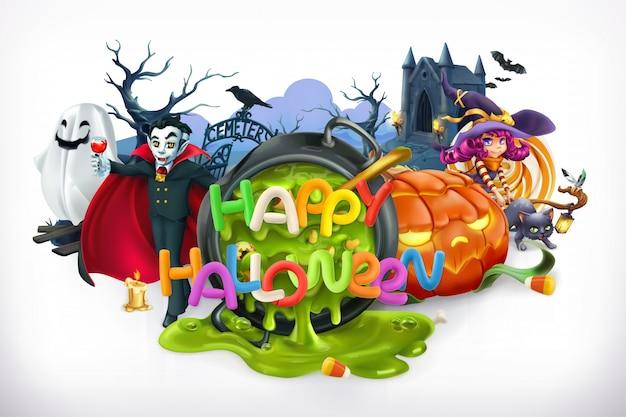 Feliz halloween. calabaza, gato, bruja, vampiro, cripta, letras, emblema vectorial