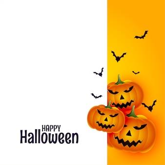 Feliz halloween con calabaza y murciélagos sobre fondo blanco.