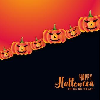 Feliz halloween con calabazas aterradoras en tarjeta espeluznante