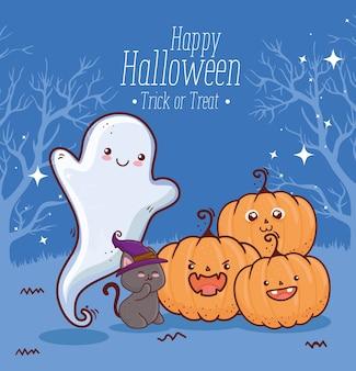 Feliz halloween con calabazas, gato y fantasma