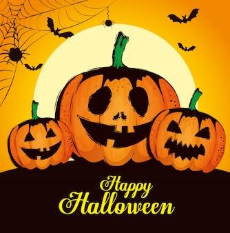 Feliz halloween con calabazas