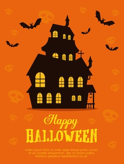 Feliz halloween con castillo encantado