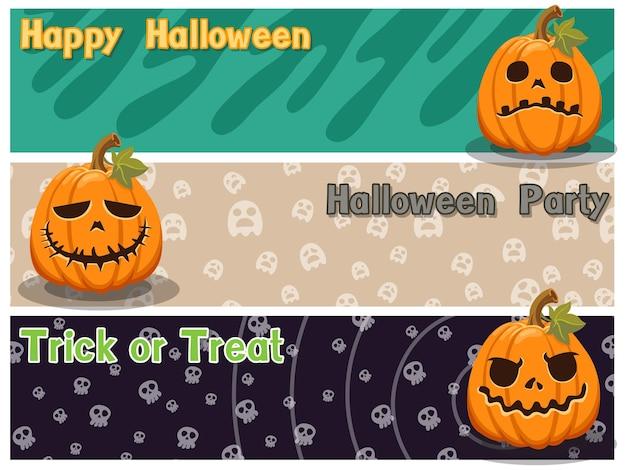 Feliz halloween colorido conjunto con calabaza y fondo.ilustración de vector.