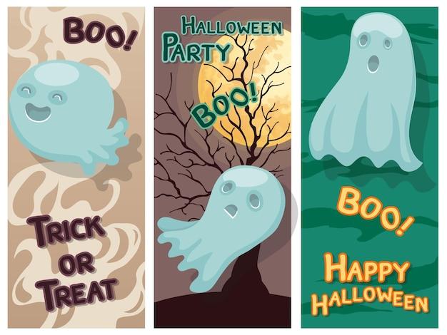 Feliz halloween colorido conjunto con fantasma y fondo.ilustración de vector.