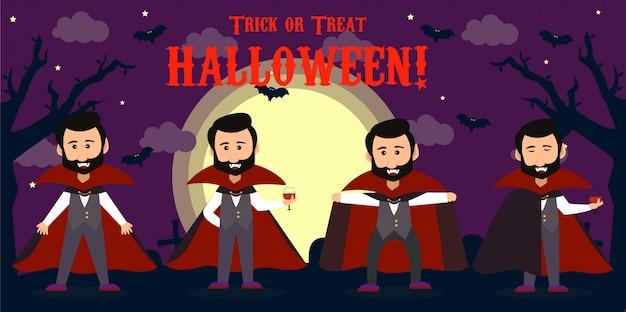 Feliz halloween conde drácula con capa roja. conjunto de dibujos animados lindo vampiro personajes ilustraciones vectoriales