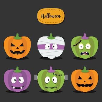 Feliz halloween conjunto de calabazas. personaje de cara de monstruo de calabazas