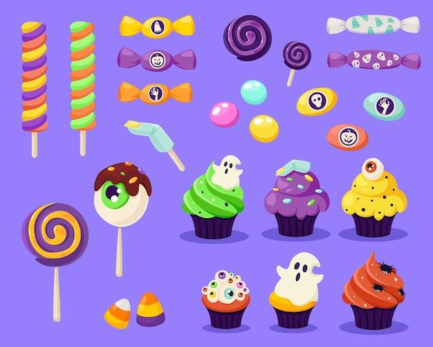 Feliz halloween. conjunto de dulces y caramelos espeluznantes. en estilo plano.