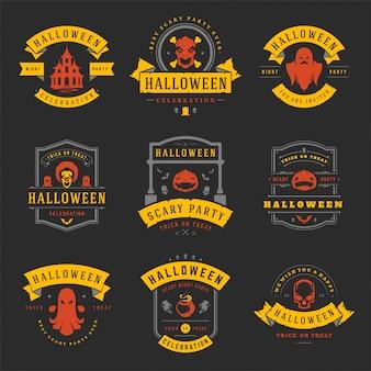 Feliz halloween conjunto de etiquetas e insignias