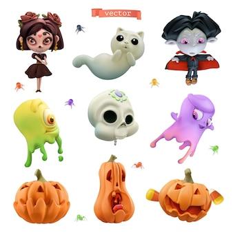 Feliz halloween. conjunto de iconos de dibujos animados de vector 3d. pequeña bruja, vampiro divertido, fantasmas de limo amistosos, calavera, espíritu de gato, calabazas, arañas pequeñas