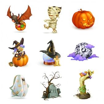Feliz halloween conjunto de monstruos