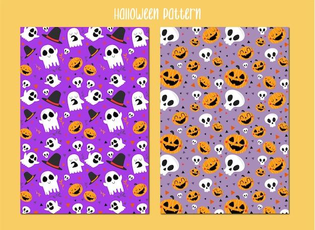 Feliz halloween conjunto de patrones de fondo