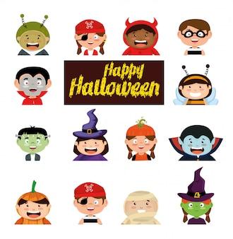 Feliz halloween con disfraz conjunto de niños