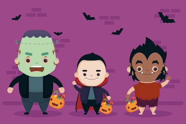 Feliz halloween drácula y hombre lobo con personajes de frankenstein