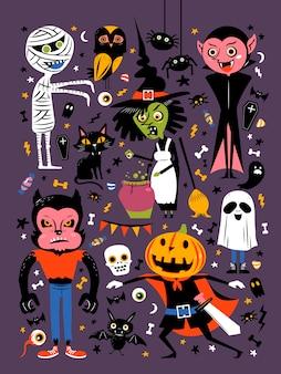 Feliz halloween elementos aislados en morado