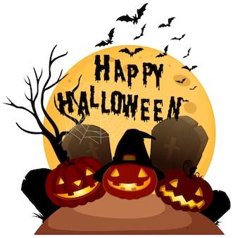 Feliz halloween en el fondo blanco
