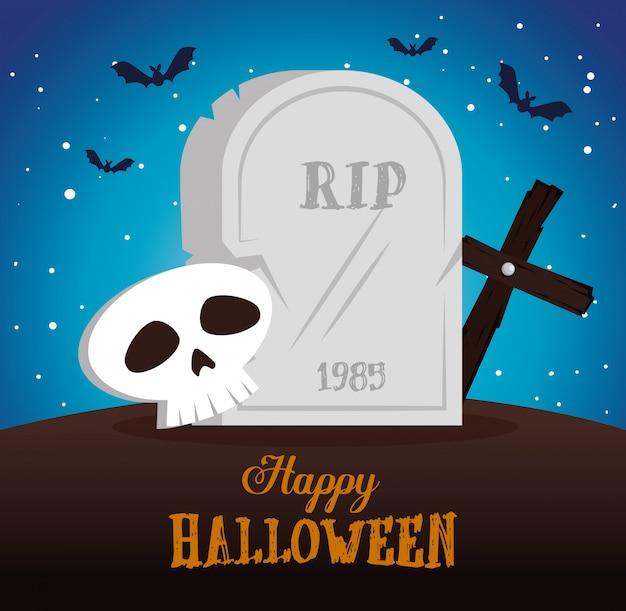 Feliz halloween con escena de cementerio