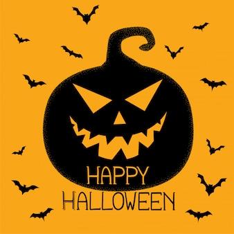 Feliz halloween espeluznante calabaza y murciélagos de fondo