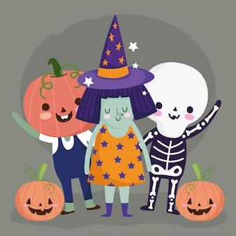 Feliz halloween, esqueleto de bruja y disfraces de calabaza personajes ilustración de celebración de fiesta de truco o trato