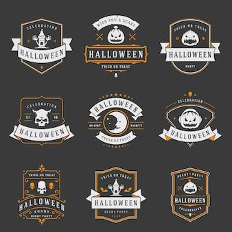 Feliz halloween etiquetas e insignias o logotipos diseño conjunto vintage
