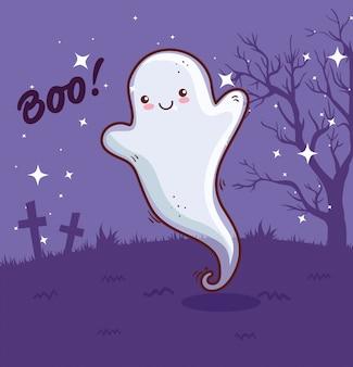 Feliz halloween, fantasma en el cementerio de escena, diseño de ilustraciones vectoriales