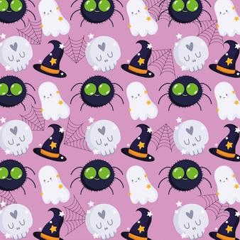 Feliz halloween, fantasma, cráneo, araña, bruja, sombrero, caricatura, truco o trato, fiesta, celebración, vector, ilustración