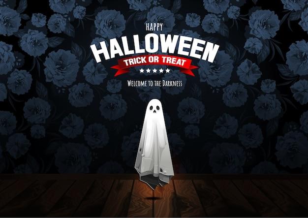 Feliz halloween, fantasma, golosina o truco.