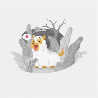 Feliz halloween fantasma perro jugando ilustración al aire libre