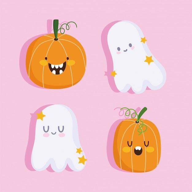 Feliz halloween, fantasmas divertidos y calabazas dibujos animados truco o trato fiesta celebración ilustración vectorial