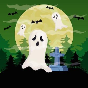 Feliz halloween con fantasmas en la escena del cementerio