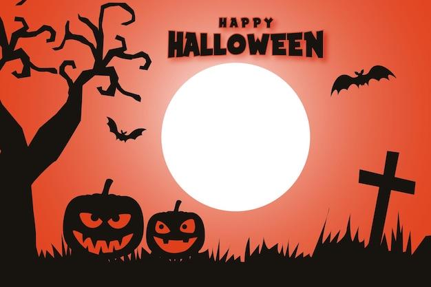 Feliz halloween fondo banner y cartel con calabazas batidos árbol seco con espeluznante luna nocturna