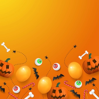 Feliz halloween fondo con calabaza, ojo y globo