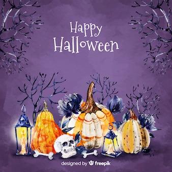 Feliz halloween con fondo de calabazas
