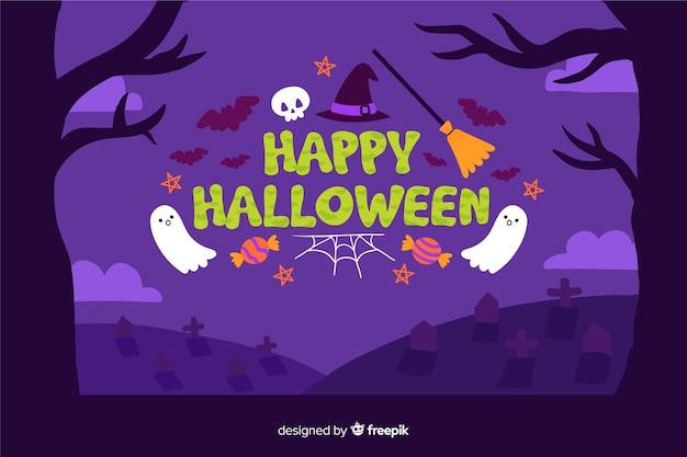 Feliz halloween fondo dibujado a mano