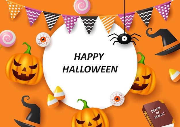 Feliz halloween con fondo naranja ilustración vectorial Vector Premium