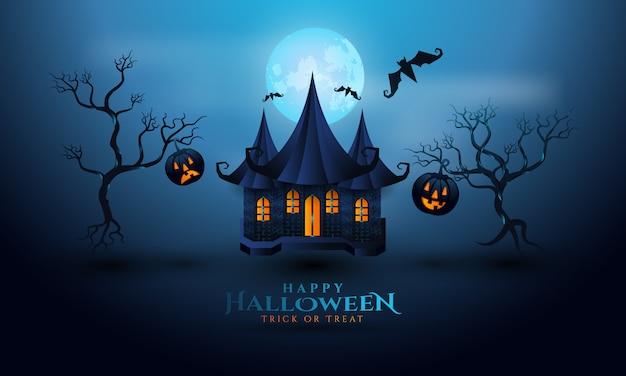 Feliz halloween en el fondo de la noche