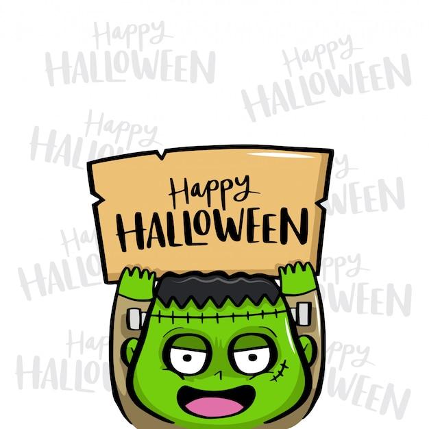 Feliz halloween con frankenstein vector