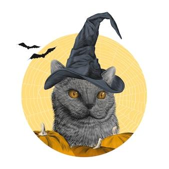 Feliz halloween con gato británico en sombrero de bruja, arte de boceto dibujado a mano