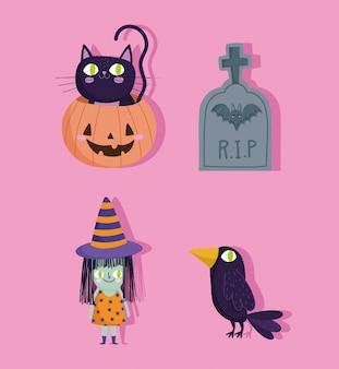 Feliz halloween, gato calabaza bruja lápida cuervo truco o trato fiesta celebración ilustración vectorial