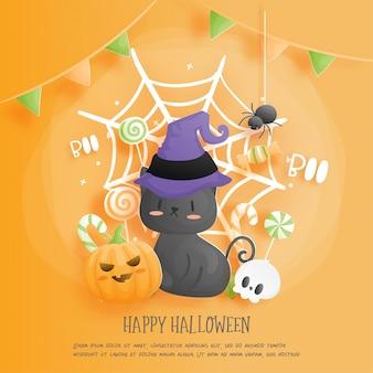 Feliz halloween con gato y calabaza. ilustración de corte de papel.